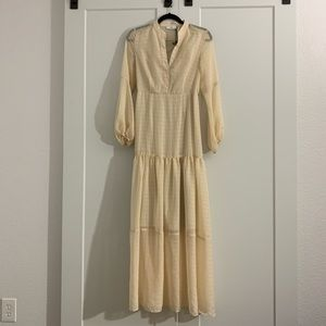NSR Lulu's Simone Cream Balloon Sleeve Maxi Dress